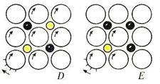 """Рис. 4 Пять принципиально различных передач """"часов Рубика"""" (вид с лицевой стороны): жёлтым показаны ненажатые кнопки, чёрным - нажатые, зубцы выделены у вращаемой шестерёнки."""